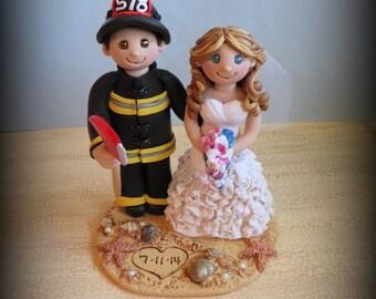 Wedding Cake Topper, Custom Cake Topper, Firefighter, Bride and Fireman, Beach Theme, Polymer Clay, Personalized, Wedding Keepsake