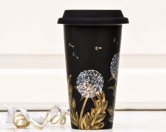 Chalkboard  Ceramic Travel Mug - Gold and silver - Porcelain Eco Cup - Black Silicon Lid - dandelions cup