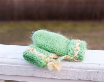 Knit baby mittens thick and warm hand knit children wool mittens in spring green white and yellow size 3 to 4 years