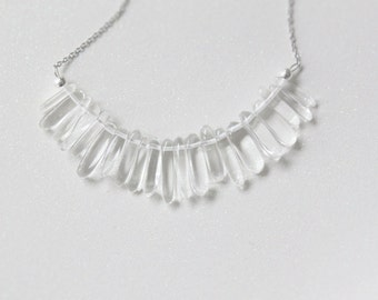 Long Rounded Quartz Crystal Drops Necklace with Stainless Steel