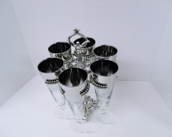 Vintage Silver Ombre or Silver Fade Pilsner Lusterware Stemware with Caddy