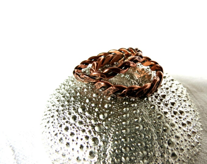 His and Hers Ring, Unisex Ring, Rope Ring, Braid , Ring for Her, Gift for Girlfriend, Rustic Ring, Wedding Ba