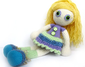 SALE Crocheted doll - soft toy - art doll - amigurumi - yellow green blue purple bright kids