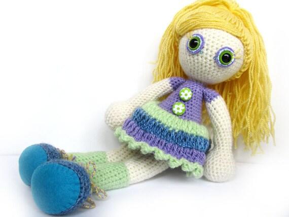 SALE Crocheted doll - soft toy - art doll - amigurumi - yellow green blue purple bright kids