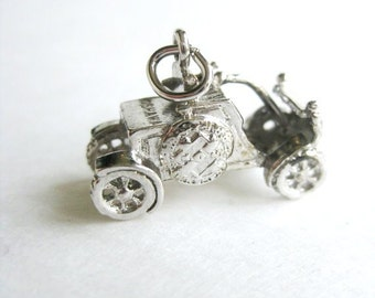 Vintage Car charm ~ sterling silver charm ~ 1930th automobile silver pendant ~ gift exchange at work, christmas stockings suffers for teens