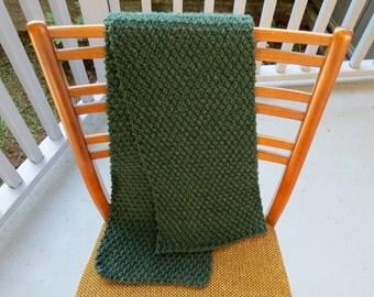 Wool blend honeycomb hand knit scarf- 'Evergreen'