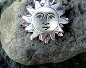 Sun art jewelry - celestial jewelry, sun face , handmade, cosmic art , spirit art ,moonheart studios, art jewelry, spirit art jewelry