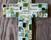 Personalized Mosaic Cross with Broken China Pieces MADE TO ORDER
