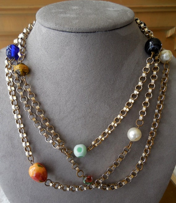 1970s Art Glass & Gold Chain LONG Necklace