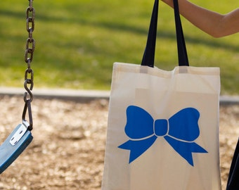 The Big Blue Bow Canvas Tote Bag - Natural or Navy Handle