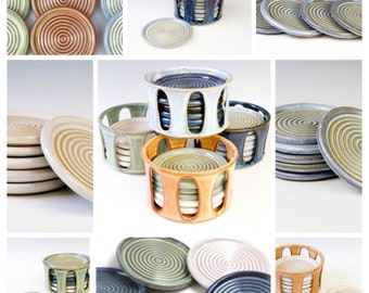 Complete Coaster Set!!! MADE TO ORDER -6 Stackable Stoneware Coasters & Holder. Mix or match colors. Allow 6 weeks for completion.