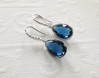Blue sapphire earrings, sapphire earrings blue, blue earrings, sapphire earrings under 50, mother of the bride earrings gift, sapphire