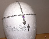 """Newborn/Baby to Adult Head Chain- """"Made with love"""" pendant or Small glass heart"""