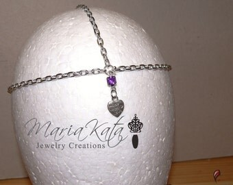 "Newborn/Baby to Adult Head Chain- ""Made with love"" pendant or Small glass heart"