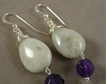 Aquamarine, Amethyst, and Sterling Silver earrings
