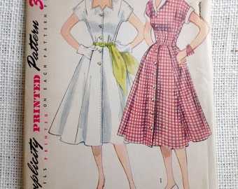 Vintage Pattern Simplicity 3878 dress sewing Full Skirt New Look 1950s 1952 Rockabilly Bust 33 Uncut