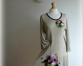 Asymmetric Grey Tunic LINEN Knitted Short Sleeve With Felt Flower Application Eco Friendly Clothing Size M L