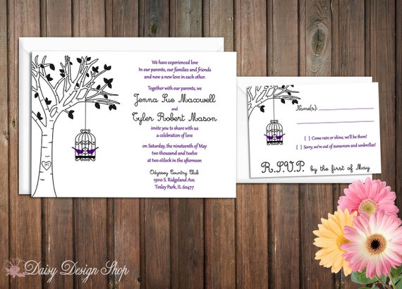 Wedding Invitation - Bird Cage Hanging from a Birch Tree with Bird Silhouettes - Rustic Chic - Invitation and RSVP Card with Envelopes