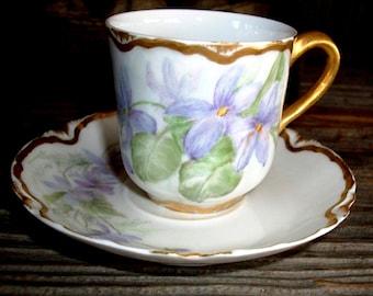 Antique HAVILAND PORCELAIN DEMITASSE, 1894-1896 Marks, Beautiful Violet Painted Design, Lavender & Green, Superb Find!