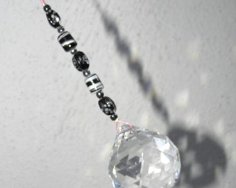 Feng Shui Crystal 40mm Sun Catcher Glass Beads Rainbow Ornament Black & White Beads