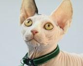 Soft Velvet Cat Collar - Emerald Green - Kitten or Large Size