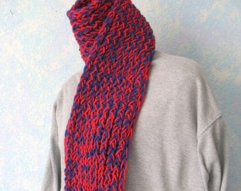 Winter scarf, handknit, royal blue, hot red  item OO3