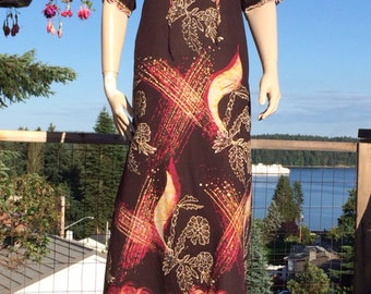 Vintage 70s Embroidered MOROCCAN Maxi Caftan Dress M L