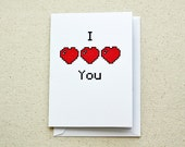 I Heart You Note Card 8-Bit Love