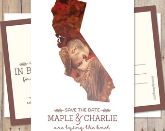 Save-The-Date - Vintage Wedding Save The Date Card or Magnet - California