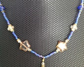 Blue Beads & Clear Stars Necklace