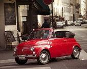 Art, Photography, Paris Photography, Vintage Car photography, Red, Cutest Car In Paris 8x10 fine art print