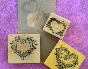 Rubber Stamps Set of 3 - vintage stamping, wood, rubber, hearts, shabby, printing supply
