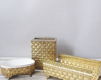 Gold Basket Weave Powder Room Set