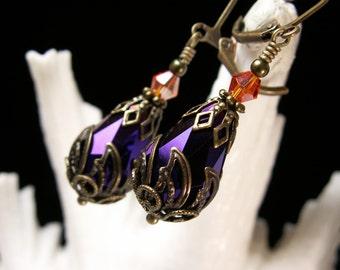 Purple Orange Victorian Earrings, Metallic Steampunk Drops, Edwardian Bridal Earrings, Antiqued Bronze Filigree, Titanic Temptations Jewelry