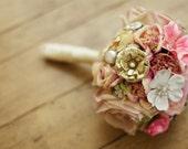 Custom Blush Pink Brooch Bouquet - Neutral Colors - Alternative Bridal Bouquet - Custom Medium Bouquet - International Shipping