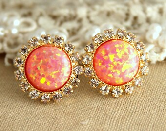 Opal earrings,Orange Earrings,Swarovski Crystal Earrings,Gift for her,Fire opal Earrings,Christmas Gift,Opal gold Earrings,Rer Opal Earrings