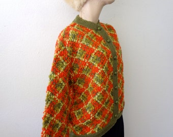 1960s Mod Wool Sweater - chunky boucle knit vintage cardigan - size M