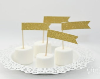 Gold Glitter cupcake flags food toothpicks - Set of 25 - Cake Flags