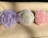 White - Rose or lilac Ruffled Rose Pillow - Dollhouse Size