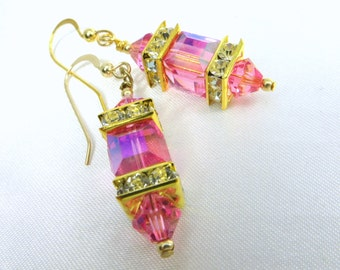 Swarovski Pink Rose AB Cube Lantern Earrings on 14k Gold Fill