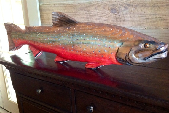 """Dolly Varden 34"""" original chainsaw wooden trout carving lake lodge retreat fish sculpture rustic wall mount indoor outdoor home decor art"""