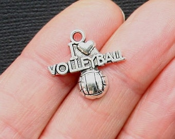 5 Volleyball Charms Antique  Silver Tone I Heart Volleyball - SC3085