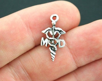 8 Doctor Charms Antique Silver Tone Caduceus Medical MD Charm - SC3909