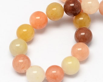 """Jade Beads in shades of Yellow and Peach  10mm (3/8"""") - 1 Strand BD581"""