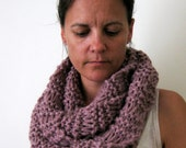 Womens Chunky Mauve Lilac Long Infinity Scarf Hand Knitted