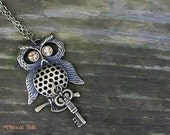 Bronze Owl and Key Charm Necklace