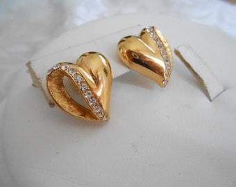 Vintage earrings, heart earrings, crystal earrings, romantic earrings, stud earrings, vintage jewelry, jewellery