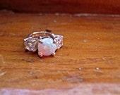 Genuine 3 Stone Mothers Ring Charm pendant necklace Sterling Silver gemstone opal white topaz amethyst citrine garnet handmade fine jewelry