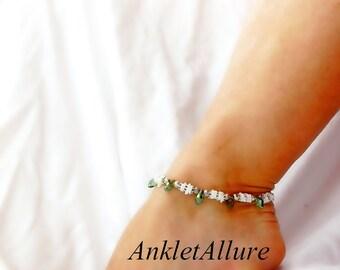 Beach Resort Belly Dance Anklet White Ankle Bracelet Caribbean Cruise Anklet  Green Teardrop Crystal Ankle Bracelet