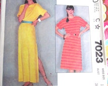 MCCALL'S 7023 Misses' size 14 Bust 36 Pullover DRESS Pattern with Kimono Sleeves